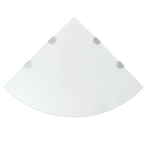 vidaXL Eckregal mit Halterungen Glasboden Glasplatte Glasscheibe Weiß 45 x 45 cm