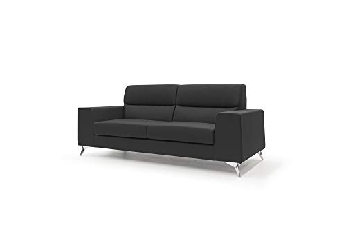 HOMIT ITALIAN HOME INTERIORS Sofá de 2 o 3 plazas modelo Titan, de tejido suave impermeable con estructura de madera y abeto, diseño moderno, fabricado en Italia (negro, 3 plazas)