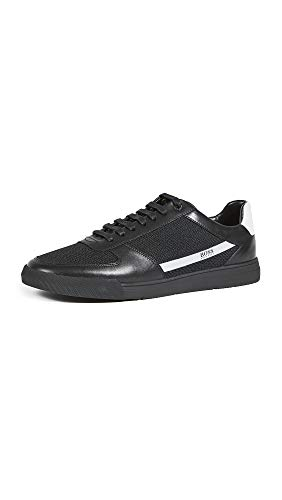 Hugo Boss BOSS Men's Leather Snesker Sneaker, Noir Black, 7