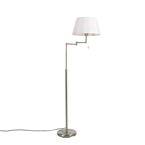 QAZQA Moderno Lámpara de pie acero pantalla blanca brazo-ajustable - LADAS Acero/Textil Redonda Adecuado para LED Max. 1 x 40 Watt