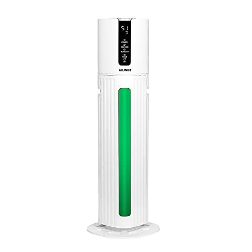 Whole House Humidifiers for Bedroom, Home, Large Room, Large Top Fill Humidifiers (8L/2.11Gal), 36 Hours Humidification at One Filling with Highest 300mL/H Mist Output, Green Night Light Function