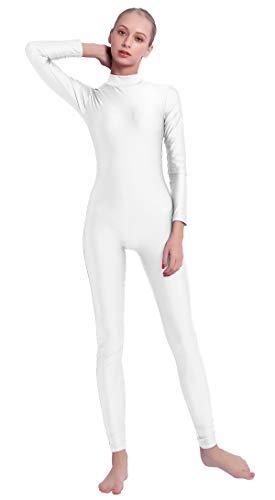 Speerise Adult High Neck Zip One Piece Unitard Full Body Leotard, M, White