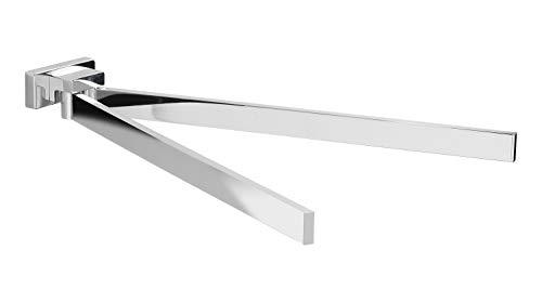 INDA Lea Handtuchhalter doppelt, Messing, Weiß, 38 x 7 x 3 cm