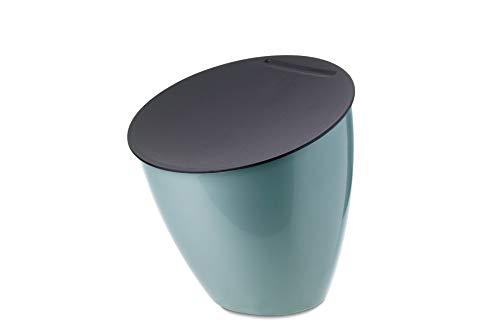 Mepal Abfallbehälter Calypso Nordic Green – 2200 ml – ideal für die Küchenabfälle – Klappbarer Deckel schließt gut ab-Braucht wenig Platz-Spülmaschinengeeignet, PP/ABS, Grün, 17.5 x 18.4 cm