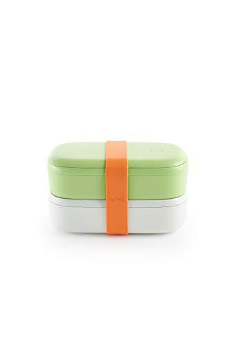 Lékué Lunch Box, Sin Cubiertos,Recipiente ,Verde, 1000 ml