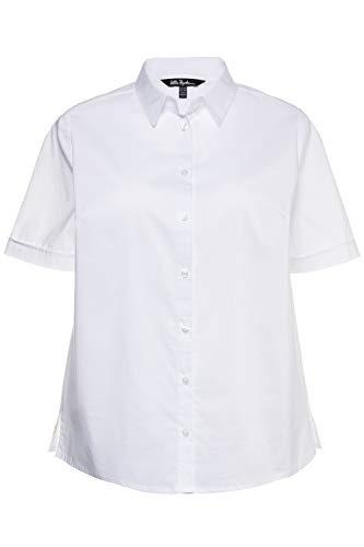 Ulla Popken Damen große Größen bis 60 | Kurzarm Bluse, Business Shirt | Halbarm Oberteil mit Knopfleiste | Hemdkragen & Seitenschlitze | weiß 52 714169 20-52