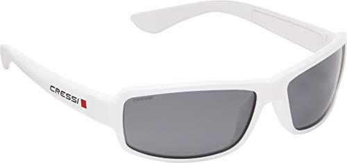 Cressi Ninja Sunglasses Gafas Polarizadas para Deportes con una Protección 100% UV, Adultos unisex, Blanco-Lentes Ahumadas, Un Tamaño
