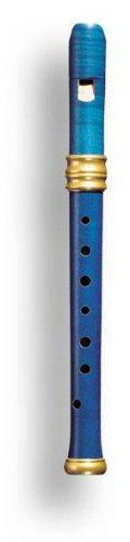 Mollenhauer 4117B Adris Traumflöte Renaissance-Art Sopran-Blockflöte Barock Einfachloch (OHNE Doppelloch!) Birnenholz, gebeizt, blau, lackiert- Sopranflöte in C inkl. Baumwolltasche, Wollwischer, Fettdöschen, Grifftabelle und Pflegeanleitung