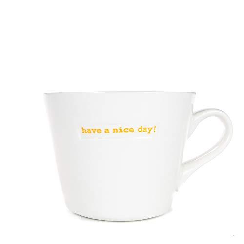 Keith Brymer Jones Word-0613 Standard-Eimerbecher, 350 ml, Have a Nice Day, Porzellan, 350 ml, Weiß