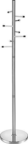 devil ray - Perchero de pie de acero inoxidable cepillado con 8 ganchos de pie - 185 cm (alto) x 40 cm (ancho) x 40 cm (profundidad) (rotación individual).