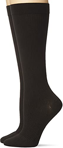 Dr. Scholl's Women's Travel Knee High Socks with Graduated Compression, Black (2 Pack), Shoe Size: 4-10
