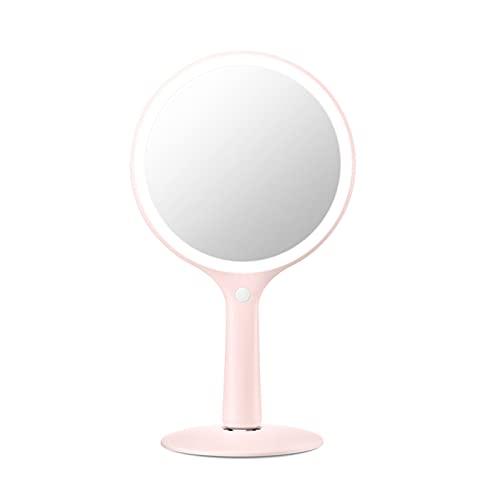 Espejo de Maquillaje con Lupa LED Bluetooth Inteligente Girar 360 Grados ABS y Vidrio 5X Luz 3 Colores 2600mA para Casa,Pink