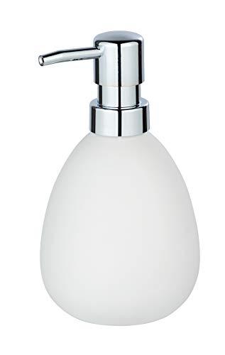 WENKO Seifenspender Polaris Weiß matt - Flüssigseifen-Spender, Spülmittel-Spender Fassungsvermögen: 0.39 l, Keramik, 9.5 x 16 x 9 cm, Weiß