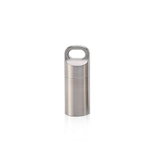 Matedepreso Caja de píldoras de acero inoxidable llavero impermeable caja de soporte de píldoras llavero botella mini cápsula tanque para accesorios al aire libre (tamaño: S)