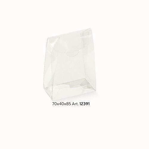 10 Stück Kartonage Transparent, SACCHETTO Trasparente, transparent, 70 x 40 x 85 mm, Geschenkverpackung Hochzeit Taufe