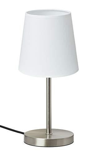 Trango 2017-09W Nachttischlampe *WHITE* Tischleuchte mit Stoffschirm in Weiß inkl. 1x E14 Lampenfassung, Lampe, Fensterbank, Tischlampe, Nachttischleuchte für Schlafzimmer