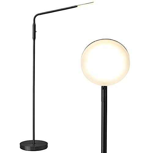 O'Bright Moon - Dimmable LED Floor Lamp, Adjustable Color Temperature for Bedside Reading, Work Light, Art/Crafting Light, Sewing, Ultra Flexible Gooseneck, Rotatable Lighting, Black