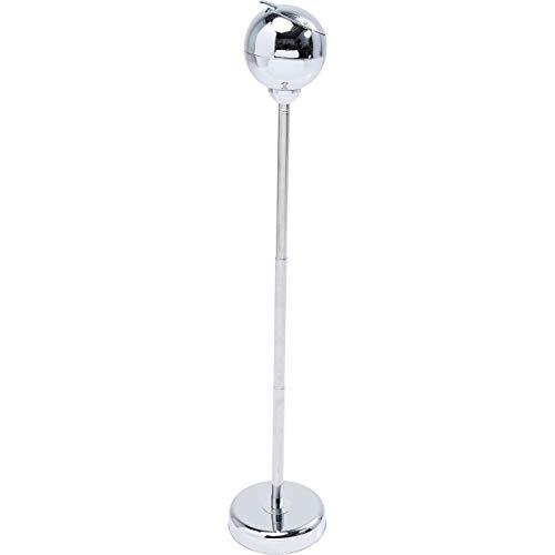 Kare Design Standascher Spheric, Silber-Chrom, mit schließbarer Klappe & Ablagefläche für Zigaretten, höhenverstellbarer Retro Standaschenbecher 13x13x72 cm