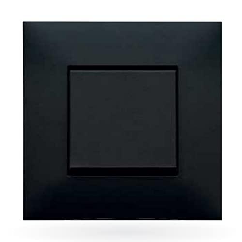 Placa embellecedora de 3 elementos, modelo Valena Next, color negro y cromo, 5 x 22,3 x 9 centímetros (referencia: Legrand 741063)