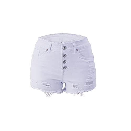 Pantalones Cortos de Mezclilla para Mujer Pantalones Cortos de Mezclilla con Flecos de un Solo Pecho con Personalidad de Moda de Primavera y Verano M