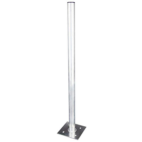 PremiumX 100cm Ø 50mm Standfuß Aluminium Antennen-Mast Rohr-Ständer Mastfuß Flachdach-Halterung für Satellitenschüssel SAT-Spiegel