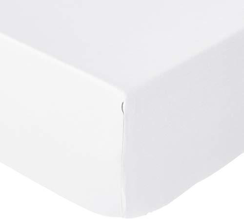 AmazonBasics Sábana bajera de satén, 100 x 200 cm, blanco