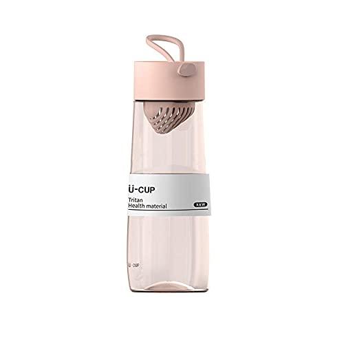 Yidieman Botella Deportiva,Botella de Agua portátil Tritan con asa-Pink_500ML,Botellas de plástico Tritan con Filtro sin BPA