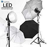 LimoStudio 2700 Lumen LED Light Bulb with 7.5' Diameter Metal Dish Lamp for Concentrative Spotlight, Light Stand Tripod, White Umbrella Reflector, Photography Video Studio, AGG2605V2