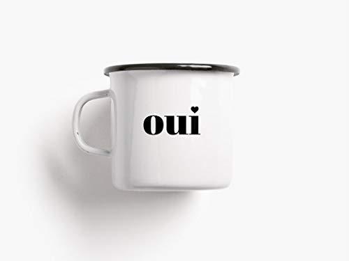 Emaillebecher Tasse - Oui Non - von typealive - Camping Becher Outdoor lustiger Spruch schwarz weiß Geschenkidee Geschenk für Sie Ihn Kaffeebecher Ja Nein