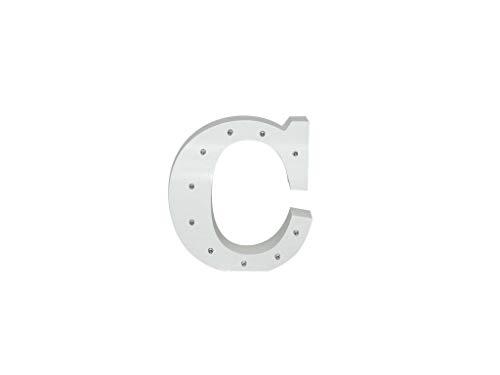 Letra blanca decorativa con luz LED blanca (madera) (C)