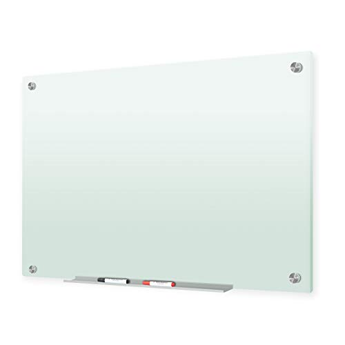 J&J worldwide Glass Whiteboard,47 x 35 Inches Frosted Glass Dry Erase Board, Non-Magnetic, Frosted Surface, Frameless, Includes Markers, Marker Tray, Eraser for Wall, Office, Home, School