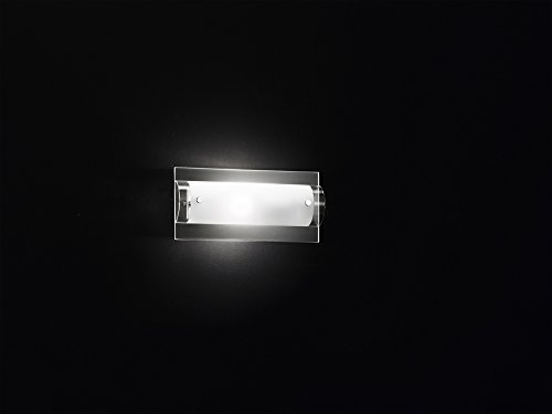 Applique en chrome poli avec verre transparent et satiné avec 1 ampoule à culot E14 max 40 W L 12 x H 25 x P 9 cm, modèle Perenz 5476