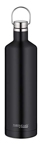 ThermoCafé Edelstahl Trinkflasche Traveler Bottle schwarz 750ml, Edelstahl Thermosflasche dicht bei Kohlensäure, 4070.232.075 Isolierflasche 12 Stunden heiß, 24 Stunden kalt, Wasserflasche BPA-Frei