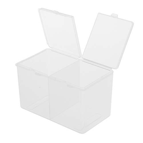 SM SunniMix Boîte de Rangement pour Coton et Cotons-tiges à 2 Compartiments avec Couvercle en Plastique - Clair