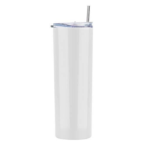 Gteller - Bicchiere sottile sottile a doppia parete in acciaio inox 18/8, con cannuccia e coperchio, isolato per mantenere le bevande fredde e calde (bianco, 567 oz)