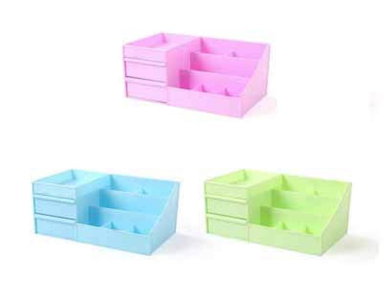 仕立て屋ふざけた思い出化粧品収納ボックスプラスチックの創造的な家庭用品デスクトップの破片の宝石箱大きな引き出し (Color : グリンー)