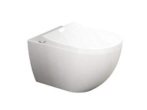 Aqua Bagno | Design Hänge-WC | Ohne Spülrand | WC-Garnitur mit Softclose WC-Sitz | Wandmontage | WC-Set | Keramik