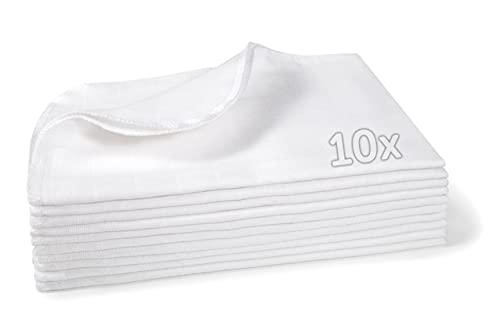 Makian Mullwindeln Spucktücher 10er Pack, 35x50 cm klein, Öko-Tex Standard 100 geprüft - doppelt gewebte Baby Mulltücher, kochfest - Weiß