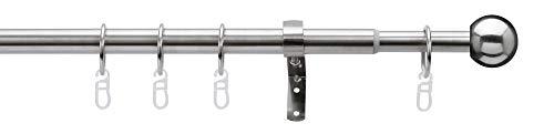 Gardineum 200-350 cm ausziehbare Gardinenstange mit Endkugel, Edelstahl-Optik, Ø 16/19mm, 1-Lauf inkl. Trägern und Ringen