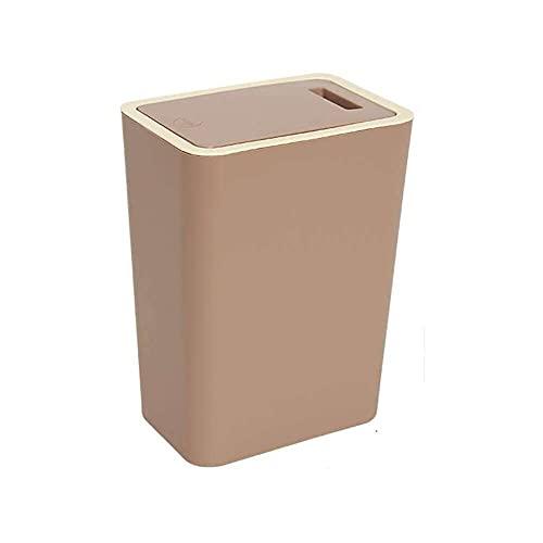 YuKeShop Papelera rectangular de plástico con tapa tipo prensa, contenedor de basura de 12 litros, para dormitorio, baño, sala de estar, cocina, oficina, marrón