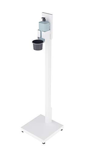 Magnet Ltd Desinfektionsständer für Desinfektionsmittel der Hände - Säule mit rechteckigem Standfuss - Idealer Desinfektionsspender für Öffentliche Gebäude (SDM-2) (Weiß)