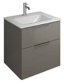 Burgbad Eqio Glas-Waschtisch inklusive Waschtischunterschrank SEYX062, Breite 620 mm, Farbe (Front/Korpus): Grau Hochglanz/Grau Glänzend, Handgriff G0146 - SEYX062F2010G0146