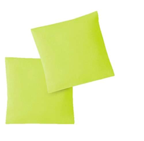 EXKLUSIV HEIMTEXTIL Fundas de Almohada de Jersey 2 Pack económico con Cremallera 80 x 80 cm Verde Manzana