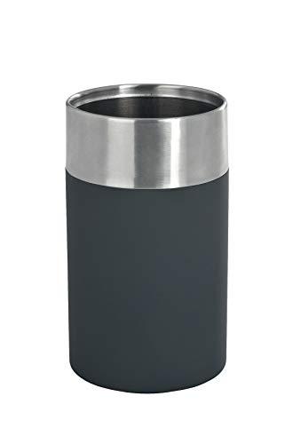 WENKO Zahnputzbecher Creta, Zahnbürstenhalter aus schwarzem Kunststoff mit griffiger Soft-Touch Beschichtung, kombiniert mit satiniertem, rostfreiem Edelstahl, ideal für Bad & Gäste-WC, Ø 7,3 x 11 cm