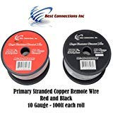 Best Connections Audiopipe 10 Gauge Wire Red & Black Power Ground 100 FT Each Primary Stranded Copper Clad