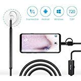 Ear Endoscope, KinCam Digital Ear Cleaning USB Otoscope Camera Tool with 6 Adjustable LED Lights, Suitable for Micro USB/Type-C/USB PC-Black (Not for iPhone)