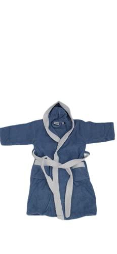 DataPrice Albornoz para Niño/Niña FOGRUM, Bata Infantil Unisex 100% Algodón - Color Azul y Blanco (4-6 Años)