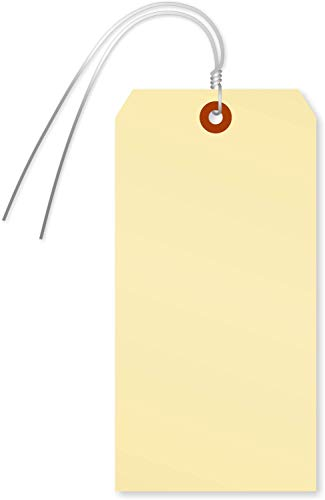 SmartSign Blank Manila Shipping Tags with Wire, Size #8 | 13pt Cardstock Tags, 6 1/4
