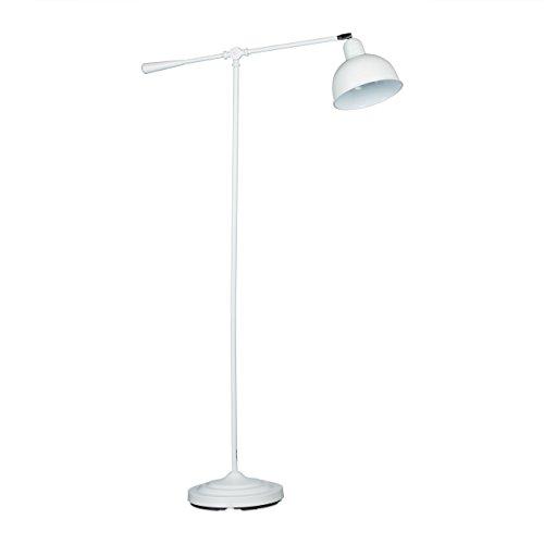 Relaxdays vloerlamp scharnier GALANDO, vintage design, HxBxD: 156 x 72 x 25 cm, massief metaal, leeslamp, eenvoudig design, wit