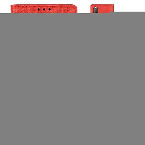Liaoxig Fundas Sony Flip Funda de Cuero con Soporte y la Ranura for Tarjeta y Monedero MX109 Horizontal Fundas Sony (Color : Red)